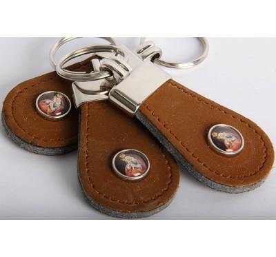 Obesek za ključe z Marijo Pomagaj - usnjen